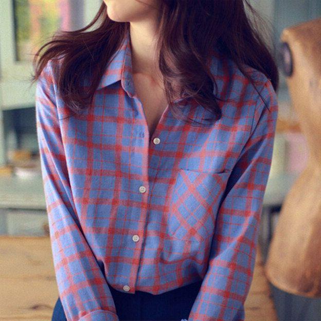 Горячий стиль роковой свободного покроя длинным рукавом клетчатой рубашке женщины с отложным воротником хлопок винтаж блузка с карманами Blusas 2015купить в магазине Fashion WalkingнаAliExpress