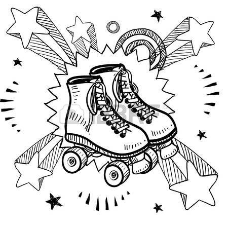 pattinare: Stile di disegno Doodle di pattini a rotelle su sfondo esplosione pop…