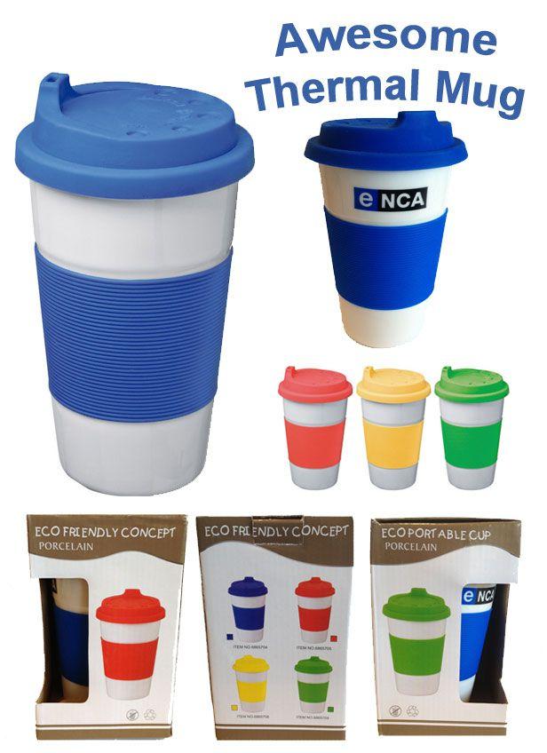 Thermal coffee mug with silicone lid