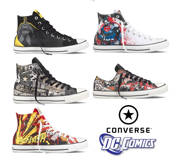 Kick some villain butt with these DC Comics Converse Chuck Taylors. Batman, the Flash and Superman make for some sick Superhero sneakers.