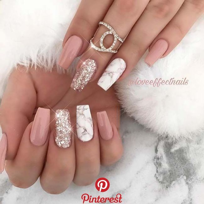 43 Different Ways to Wear Nude Nails This Year   31. Unique Nude Coffin Nails Ne…
