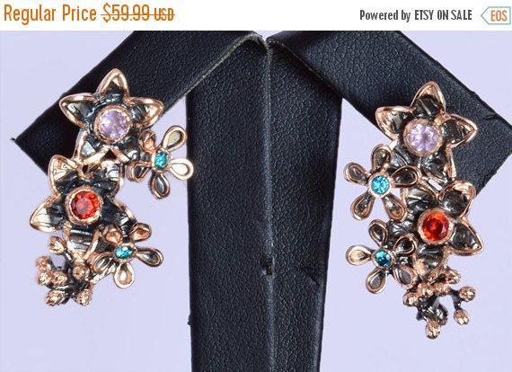 Top Quality Multi Gemstone Earring, Pure Silver Handmade Earring, 925 Solid Sterling Silver Gemstone Earring Jewellery, INC-166