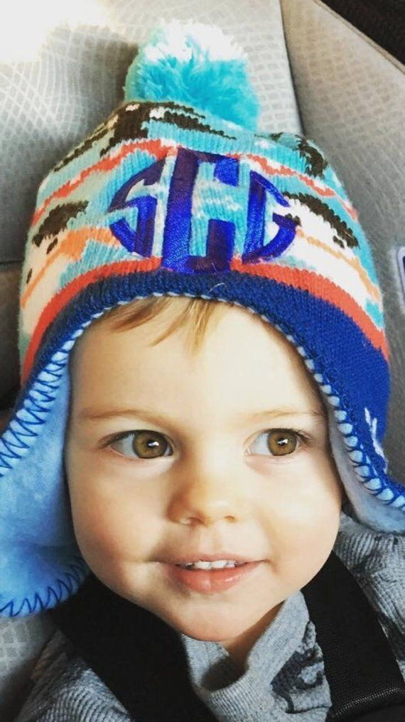 Winter Hat 3 initials Toddler boys or girls hat d0f3f919337