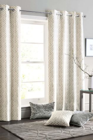 Buy Collection Luxe Opulent Geo Jacquard Eyelet Curtains from the Next UK online shop