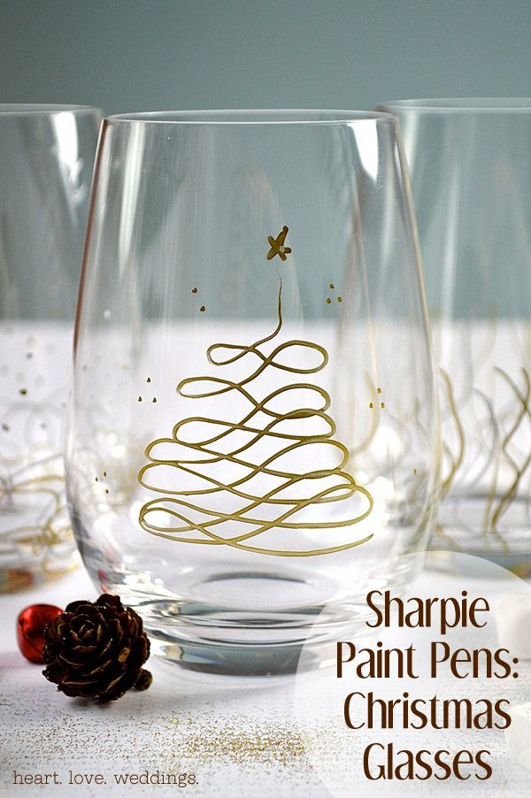 DIY Christmas Glasses using Sharpie Paint Pens:  These would make a GREAT hostess gift filled with Dove chocolates :) They're also perfect for serving yummy desserts and bubbly at holiday parties!!