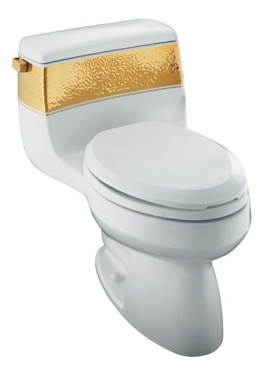gold foil toilet seat. gabrielle™ comfort height® design collection with class five® - one-piece toilet / laureate gold leaf in white elongated gpf foil seat v