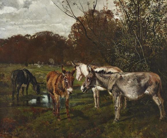 Giuseppe Palizzi (Italian, 1812-1888) Abbeverata a Fontainebleau