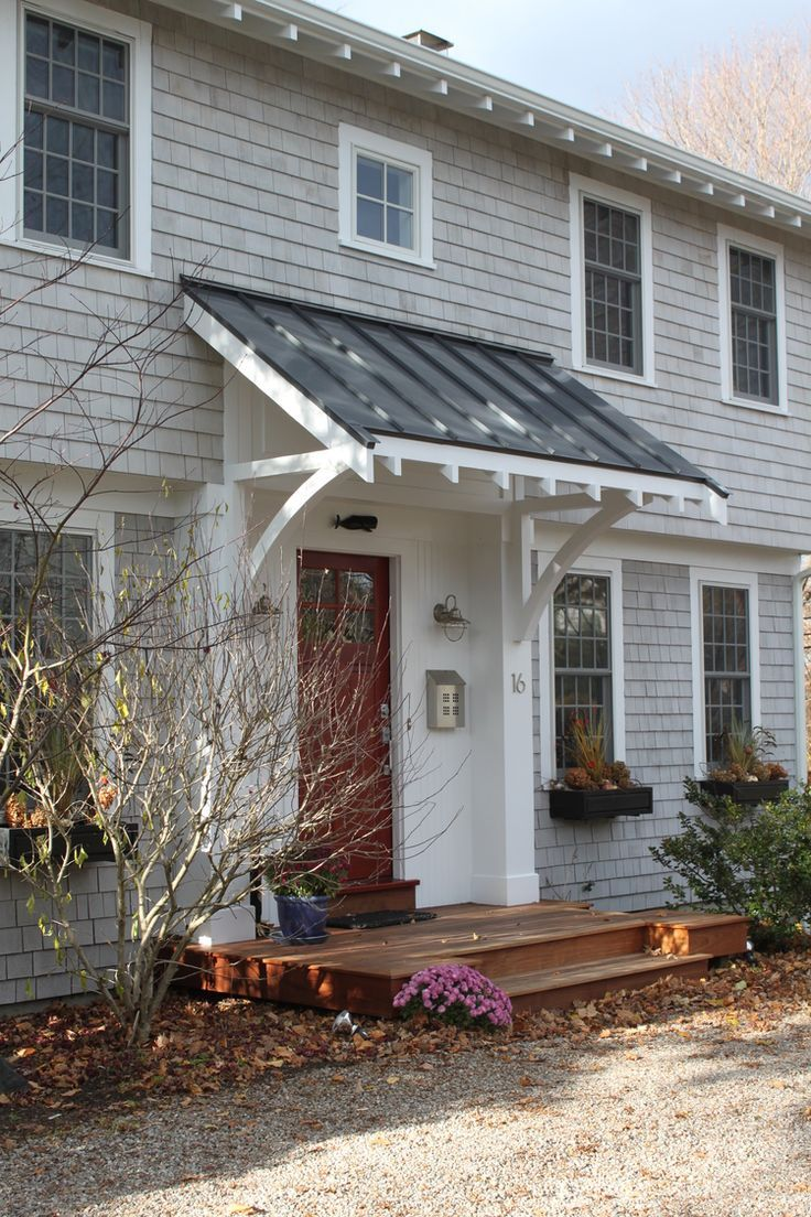 pretty shed roofed stoop. note open sides and brackets -- Molly Frey Design,  garrison colonial, front entry, front porch, front awning