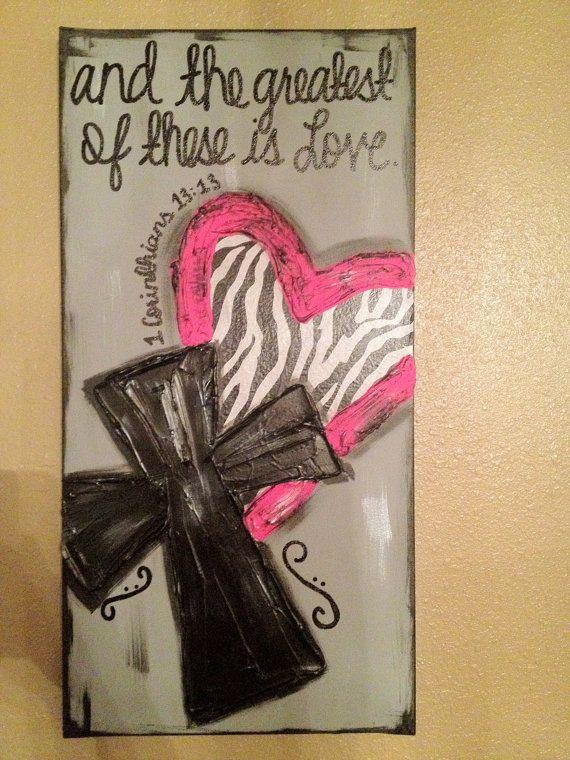 Zebra Heart Pink Cross Textured Canvas