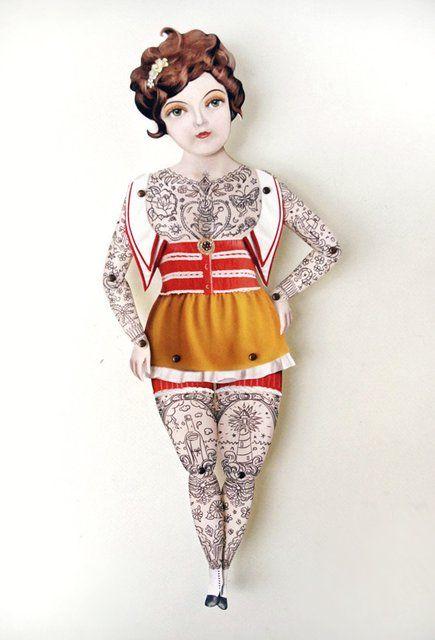Victorian Lady Tattooed Paper Puppet   – Postcard Jumping Jack