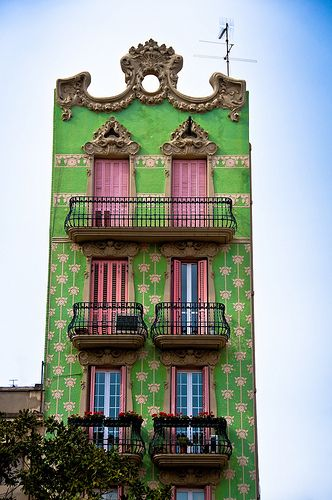 Barcelona, a few blocks north of Diagonal.     green & pink by Zanthia, via Flickr: Green Building, Pink House, Color, Design Interiors, Dreams House, Barcelonaspain, Architecture, Green House, Barcelona Spain