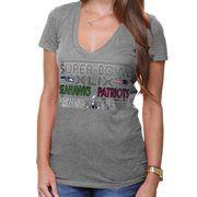 New England Patriots vs. Seattle Seahawks 5th & Ocean by New Era Women's Super Bowl XLIX Dueling Missy Tri-Blend V-Neck T-Shirt – Gray