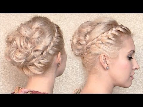 Romantic Greek goddess hair tutorial Braided curly updo hairstyle for medium lon…