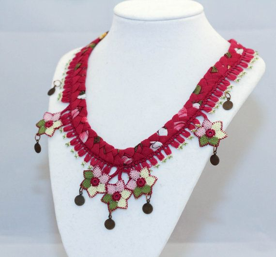 Ethnic Handmade Silk Needle Lace Floral Necklace Turkish Oya