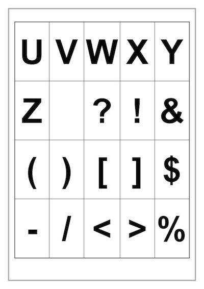 Alphabet U-Z Template