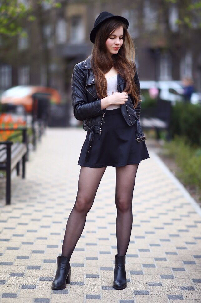 """Black leather-based jacket mini skirt hat and tights – As first seen on weblog """"Assist! I…"""