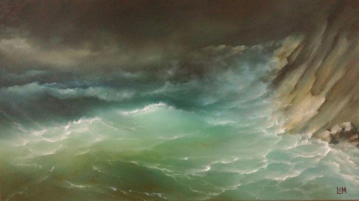 живопись - морской пейзаж, купить картину Волны и скалы