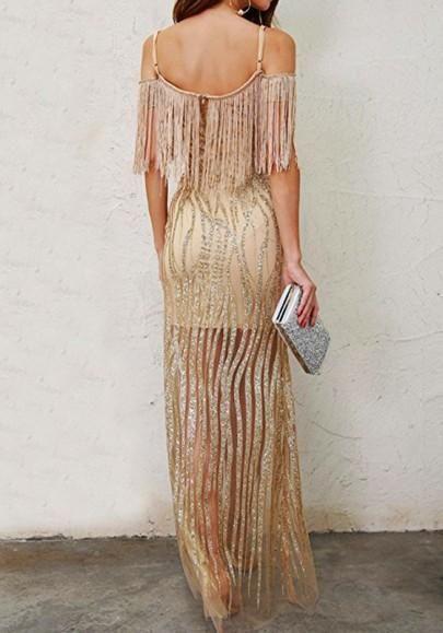 712b6c389f3b Golden Patchwork Sequin Off Shoulder Spaghetti Strap Side Slit Tassel V-neck  Maxi Dress