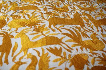 Hand-Embroidered Otomi Fabric, Yellow by Yucu Ninu (etsy)