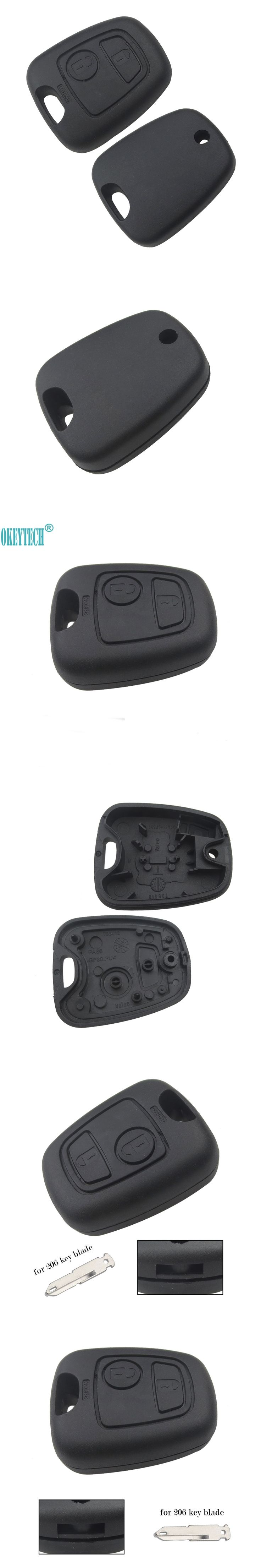 OkeyTech For Peugeot 206 307 407 Keyless Entry Replacement Shell 2 Buttons Remote Car Key Fob Case Cover Fob Not Include Blade