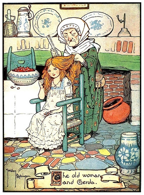"""""""The Old Woman and Gerda"""" - Gordon Robinson    """"Hans Andersen's Fairy Tales"""" (Set Forth in Simple Words for Children by William Woodburn), illustrated by Gordon Robinson, London: W. & R. Chambers, 1917."""