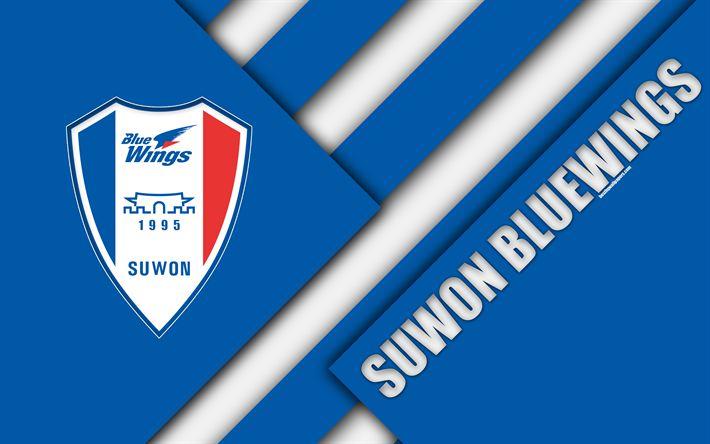 Download wallpapers Suwon Samsung Bluewings FC, 4k, logo, South Korean football club, material design, blue white abstraction, Suwon, South Korea, K League 1, football