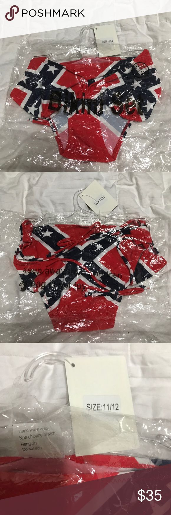 Rebel Flag Juniors Swimsuit Sz 11/12 Rebel Flag Juniors Swimsuit Sz 11/12.. Firm price $35 never worn!! WCW Swim Bikinis
