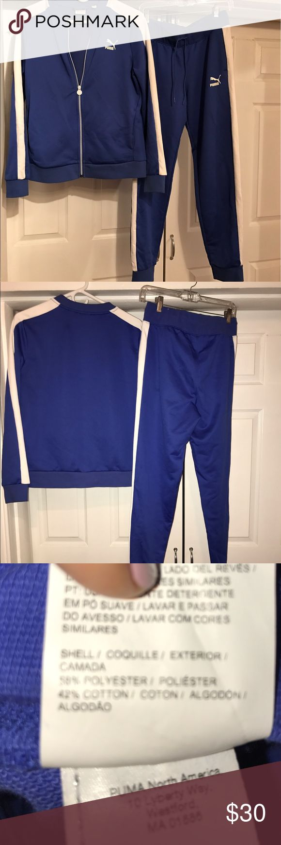Puma royal blue track jogging suit Pants size M jacket size L:  used:  pants worn once jacket worn a few times:  in great condition:  cotton Poly mix:  would like to sell together but willing to split. Puma Pants Track Pants & Joggers