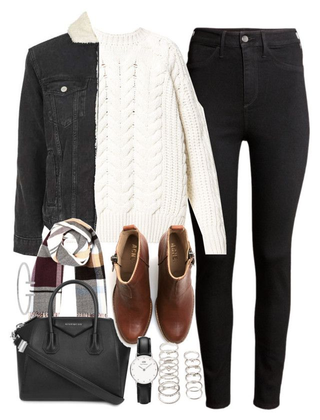 """Outfit for winter with black jeans and brown boots"" by ferned on Polyvore featuring H&M, Diesel, Topshop, River Island, Givenchy, Acne Studios, Daniel Wellington, Forever 21 and Humble Chic"