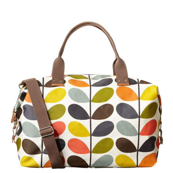 Orla Kiely: Matt laminate weekend bag with grey large linear stem cotton twill lining. Webbing tape handles, reinforced with stamped natural vegetable tan leather. Inside details include zip pocket and key chain. Zip closure. Detachable adjustable strap that allows the bag to worn as a shoulder bag or across the body (max 112cm). With poppers to side allowing the bag's shape and size to be adjusted.    Please avoid direct contact with dark clothing and denim as colour may be transferred.