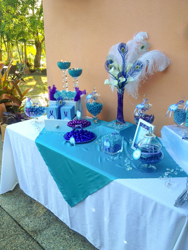 Blue and purple candy buffet. K & G Cart co