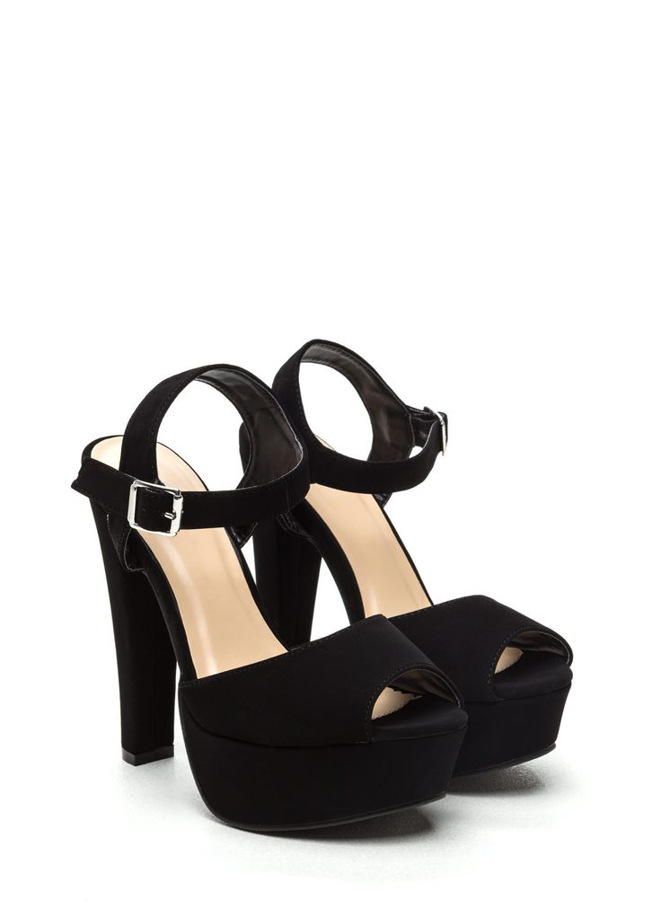 70s Goddess Platform Heels BLACK
