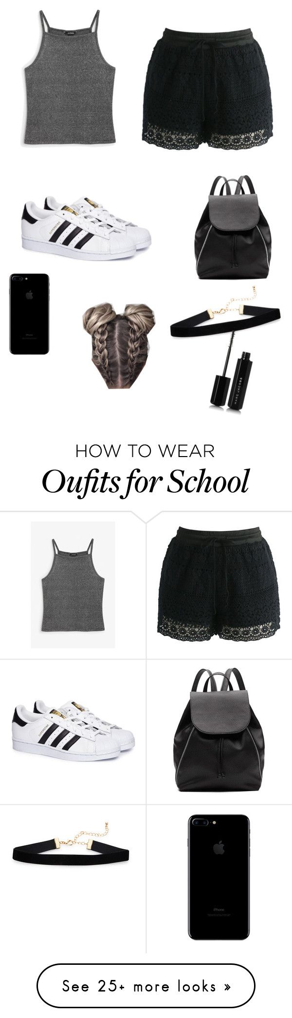 """Lazy school heat day"" by bulldogbeauty on Polyvore featuring Monki, Chicwish, adidas, Witchery and Marc Jacobs"