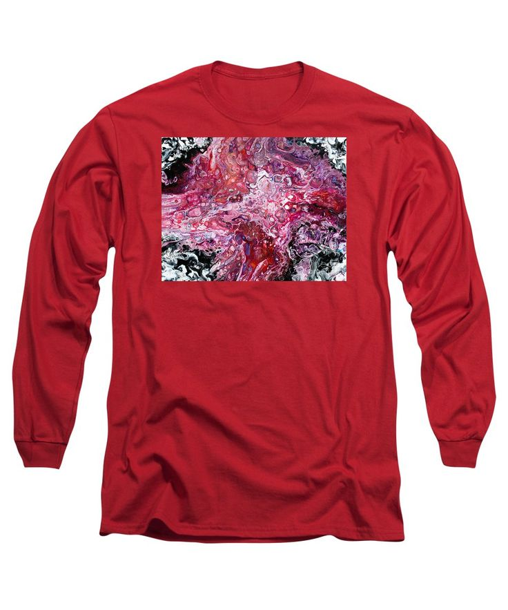 A Galaxy Looking Abstract Fluid Art Creation Red Pink Black And White Dominate Long Sleeve T-Shirt featuring the painting #699 by Expressionistart studio Priscilla Batzell