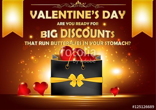 "Download the royalty-free photo ""Valentine's Day big offer / sales background for shops, pubs, restaurants that have discounts for lovers. Format A3."" created by CTRLH at the lowest price on Fotolia.com. Browse our cheap image bank online to find the perfect stock photo for your marketing projects!"