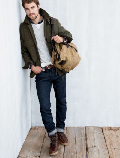 Boots, sweater, collared shirt, jacket, bag, jeans, hairstyle.