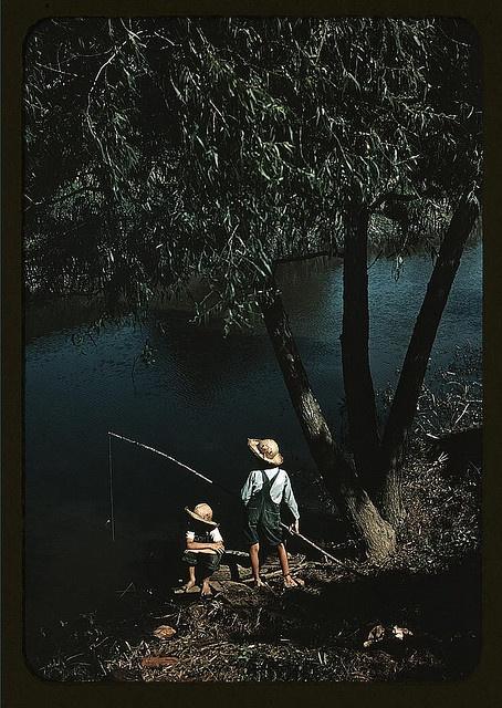 Boys fishing in a bayou, Schriever, La. 1940 June