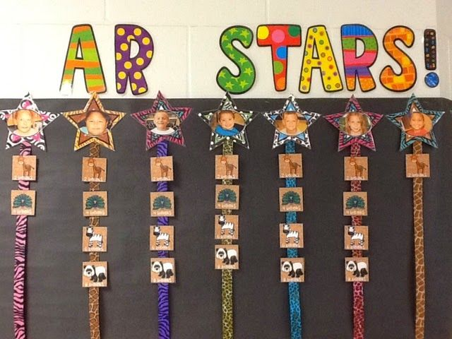 Modify into a school-wide board.  Big star at top for each grade, list students under who achieve trimester goal.
