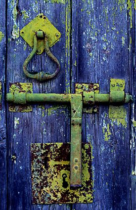 lime green door hardware