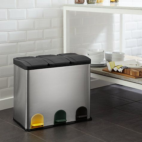 Buy John Lewis 3 Section Recycling Bin, Stainless Steel, 3x 20L Online at johnlewis.com