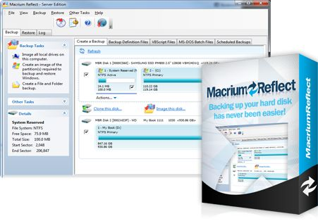 Macrium Reflect Backup and Hard Disk Imaging for Windows 7, Vista, XP and Server 2003/2008    A complete disaster recovery solution for your home and office. Protect your personal documents, photos, music and emails. Upgrade your hard disk or try new operating systems in the safe knowledge that everything is securely saved in an easily recovered backup file.