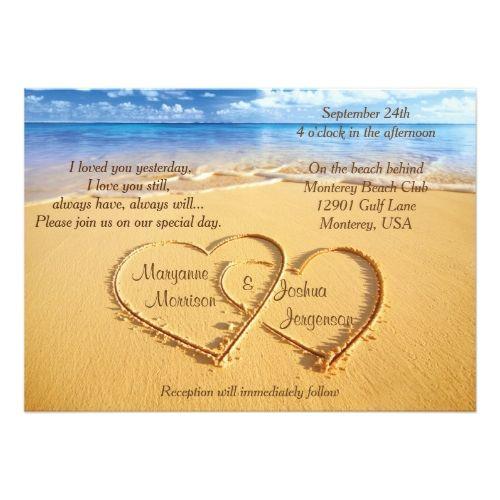 Beach Wedding Rehearsal Dinner Names in Hearts on the Beach Wedding Invitation