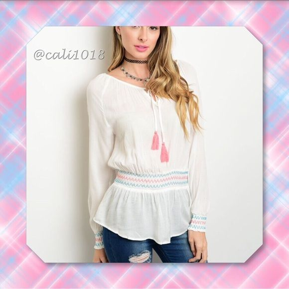"""🆕Off White Pink Accents Boho Embroidery Top This woven top features long sleeves, a round neckline with a self-tie closure and  has multicolored embroidery along sleeves and smocked waistband.  Material: Rayon Color: Off White; Pink Accents Country: China Size: 2/Small, 2/Medium, 2/Large True to size Measurements:  Small: Length: 27"""" Bust: 34"""" Waist: 24"""" 🌺🌺 Glam Squad 2 You Tops"""