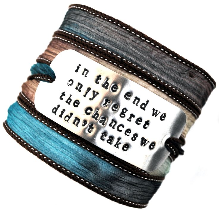 Wikkelarmband crinkle zijde#74 inspiratie armband handgestempeld ,In the end we only regret the chances we didn't take! door MystiqueSieraden op Etsy