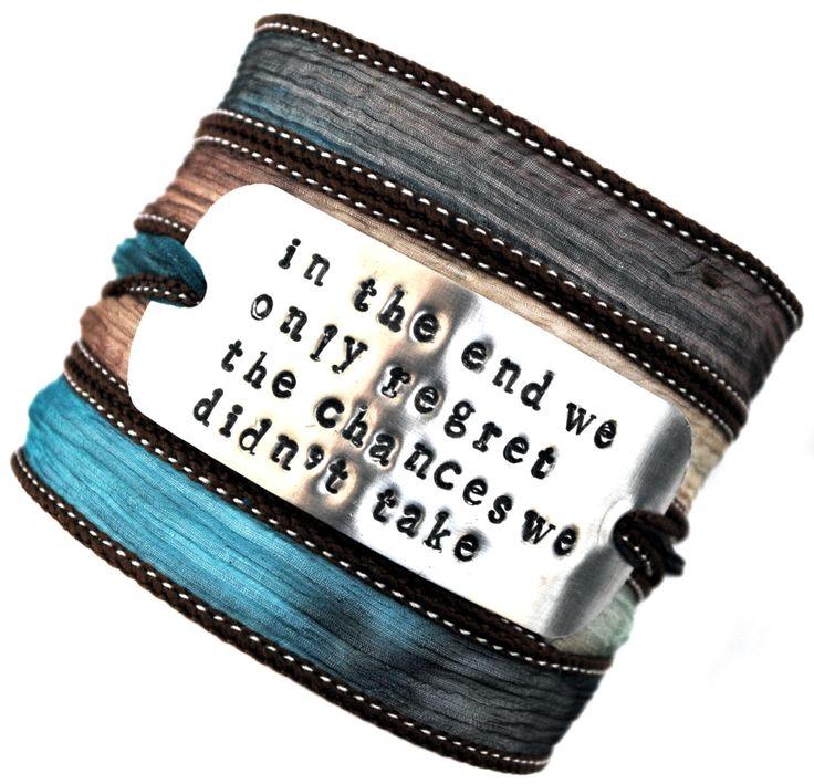 Wikkelarmband crinkle zijde#74 inspiratie armband handgestempeld ,In the end we only regret the chances we didn't take! door MystiqueSieraden op Etsy