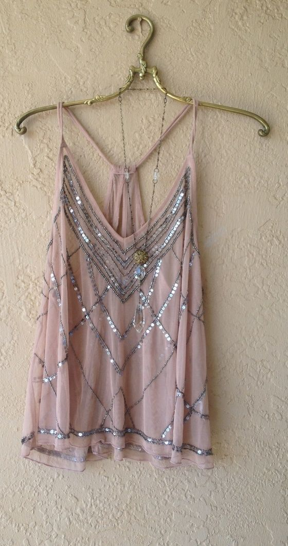Image of Bohemian Great Gatsby Beaded racerback nude blush pink beaded tank