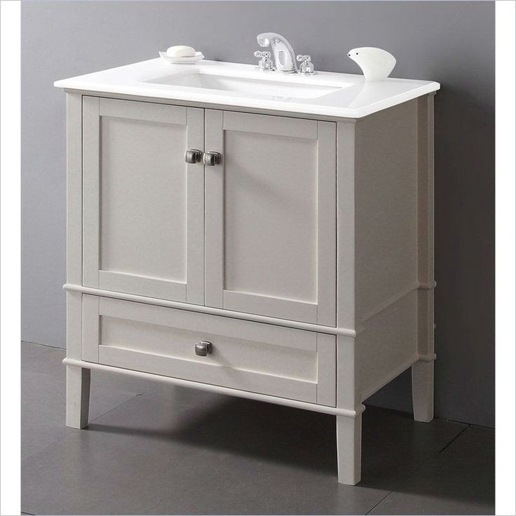 Contemporary Bathroom Vanity In Soft White With Marble Top And Rectangle Sink Marble Top