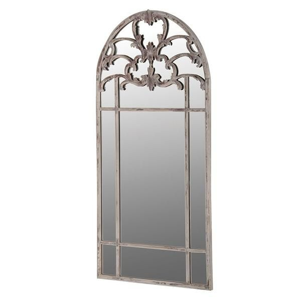 Pretty French style metal mirror with embellished detail at the top of the mirror. Tall mirror that can be used as a dressing mirror, to ad drama to a hall w...