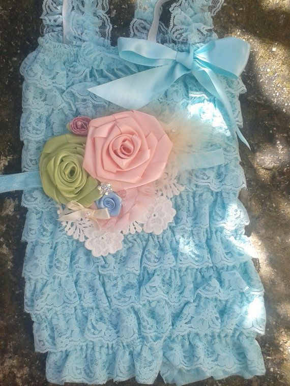 Aqua petti lace romper and headband SET,lace romper,baby headband,vintage style headband,flower headband