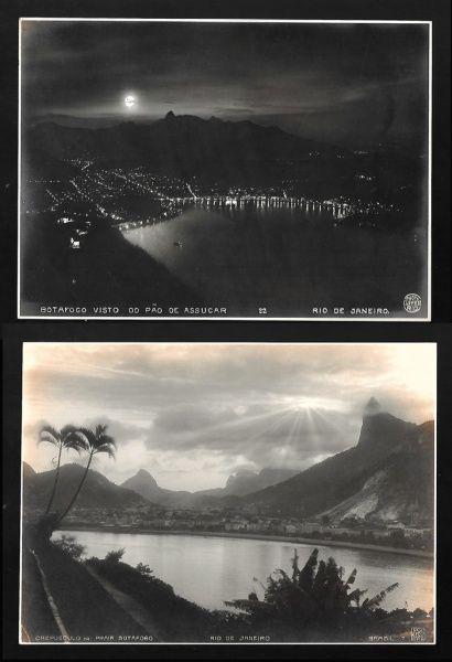 BIPPUS / LOPES. Fotografias (2) do Rio antigo: a) Bippus. Crepusculo na Praia Botafogo, Rio de Janeiro, Brasil, nº 7, com nome do fotógrafo e localização na chapa, e carimbo do fotógrafo no verso, c. 1915. 16,2 x 22,0 cm; e b) Lopes. Botafogo Visto do Pão de Assucar, Rio de Janeiro, nº 22, com nome do fotógrafo e localização na chapa, c. 1915. 16,2 x 22,2 cm. Fotos em bom estado